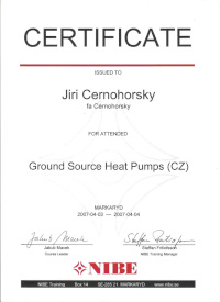 Ground Source Heat Pumps certificate